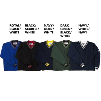 Champion Nylon Striped Trim V-Neck Pullover Jacket.