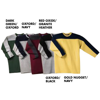 T2301 Champion 100% 3/4 sleeve Contrast Yoke and Sleeve Ringer Football Tee