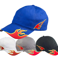 flame racing cap with pre-embroidered flames