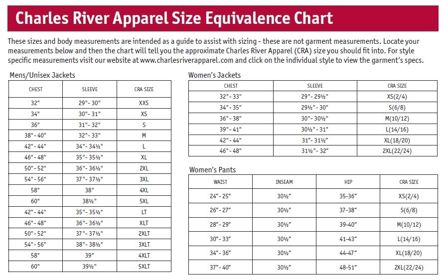 Image result for charles river apparel size chart