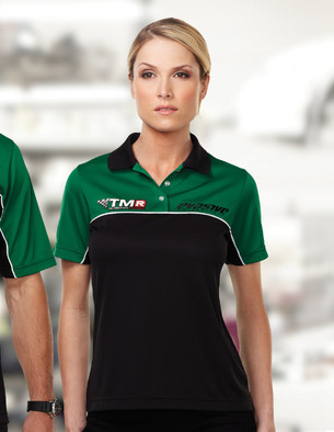 Women's racing pit crew polo shirt at Stellar Apparel